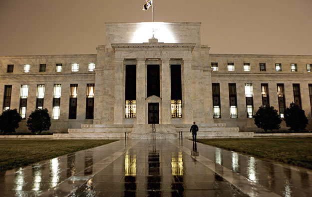 The Federal Reserve Building sits on Constitution Avenue in Washington.