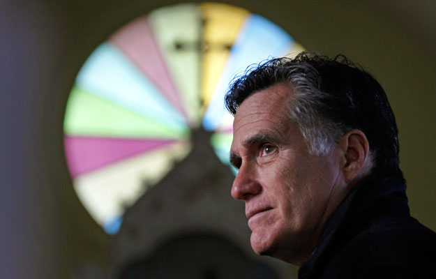 Republican presidential candidate and former Massachusetts Gov. Mitt Romney visits a church in Berlin, New Hampshire. Gov. Romney and the Mormon churh's founder, Joseph Smith, differ on many issues pertaining to the size government.