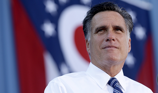 Republican presidential candidate Mitt Romney pauses during a campaign stop at Worthington Industries, a metal processing company, in Worthington, Ohio, Thursday, October 25, 2012.