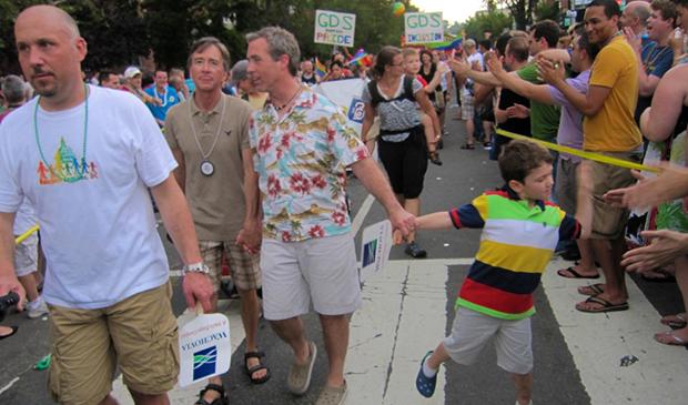 A family walks in the annual Capital Pride Parade in Washington, D.C., Saturday, June 9, 2010.