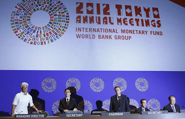 Christine Lagarde, Lin Jianhai, Riad Salameh, Jorge Familliar, Jim Yong Kim