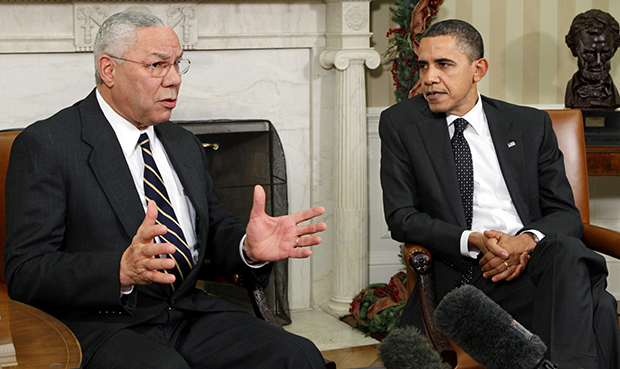 "Former Secretary of State Colin Powell meets with President Barack Obama, in the Oval Office at the White House in Washington. Powell, a longtime Republican said on the ""CBS This Morning"" program that he is sticking with President Barack Obama in this year's election."