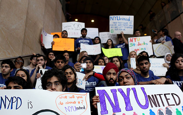 New York University students, faculty, and clergy gather at the Kimmel Center on the NYU campus to discuss the discovery of surveillance by the New York Police Department on Muslim communities.