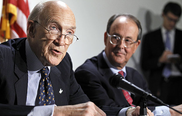 Former U.S. Sen. Alan Simpson (R-WY), left, and former White House Chief of Staff Erskine Bowles take part in a news conference on Capitol Hill in Washington. The Simpson-Bowles budget proposal would bring in $2.7 trillion in additional revenue over 10 years.