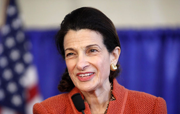 U.S. Sen. Olympia Snowe (R-ME) speaks at a news conference in South Portland, Maine. Sen. Snowe, who has a long history of supporting science-based management of our oceans and coasts, will retire when her term ends in January.