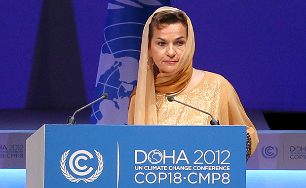 Christiana Figueres, executive secretary of the U.N. Framework Convention on Climate Change, speaks at the opening session of the U.N. climate change conference in Doha, Qatar, Monday, November 26, 2012.