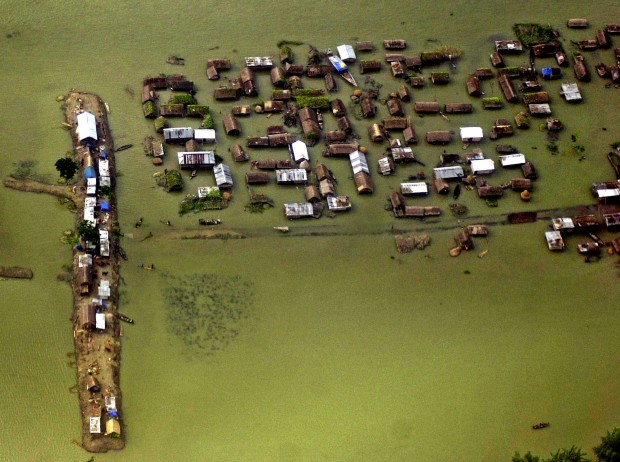 Flooded village in South Asia