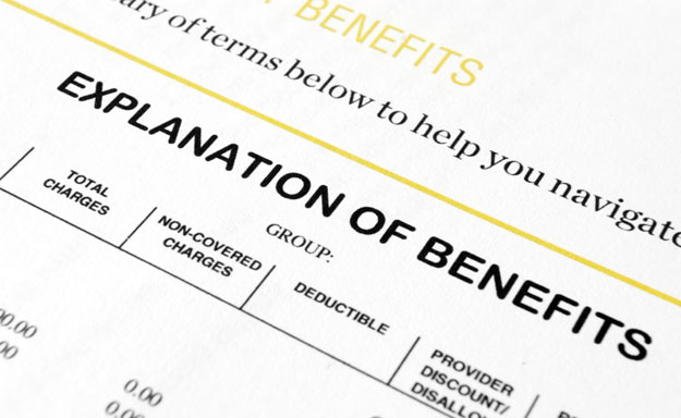 An explanation of benefits form