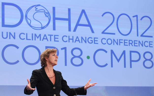 European Commissioner for Climate Action Connie Hedegaard addresses the media on the international climate negotiations in Doha. The European Union has signaled its interest in signing onto a second phase of the Kyoto Protocol.