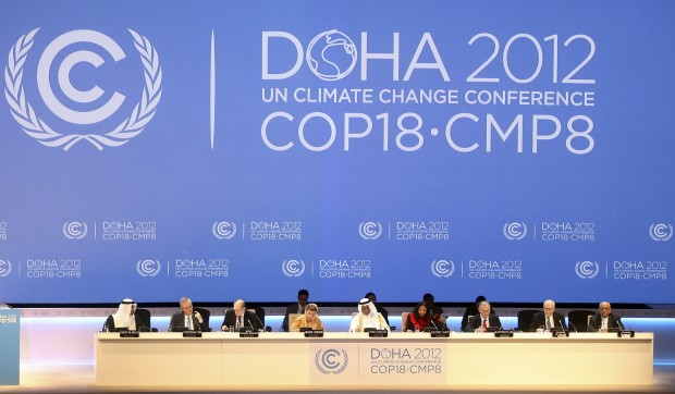 Organizers are seen on stage at the opening ceremony of the 18th U.N. climate change conference in Doha, Qatar, Monday, November 26, 2012.