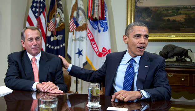 President Barack Obama and House Speaker John Boehner (R-OH) speak to reporters in the White House. President Obama's newest plan to address the fiscal showdown largely resembles the Simpson-Bowles deficit reduction plan.