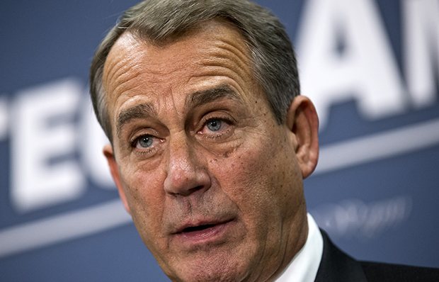 House Speaker John Boehner (R-OH), joined by the Republican leadership, speaks to reporters about the fiscal showdown negotiations with President Barack Obama following a closed-door strategy session at the Capitol in Washington, Tuesday, December 18, 2012.