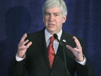 Gov. Rick Snyder of Michigan giving a speech