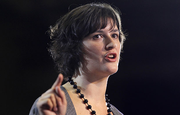 Sandra Fluke introduces President Barack Obama at a campaign event in Denver, Wednesday, August 8, 2012. Fluke is a Georgetown law student who inadvertently gained notoriety when talk show host Rush Limbaugh spoke disparagingly of her testimony before Congress on the issue of contraception and insurance coverage.