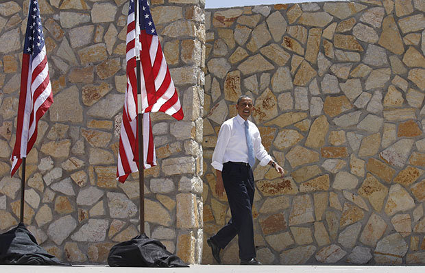 President Barack Obama arrives to speak about immigration reform at Chamizal National Memorial Park in El Paso, Texas, Tuesday, May 10, 2011.