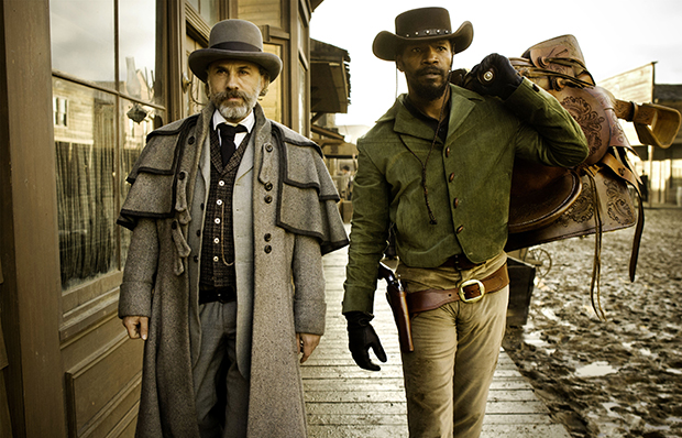 "This undated publicity image released by The Weinstein Company shows, from left, Christoph Waltz as Schultz and Jamie Foxx as Django in ""Django Unchained,"" directed by Quentin Tarantino. The film centers on a slave trying to rescue his wife from a Mississippi plantation."
