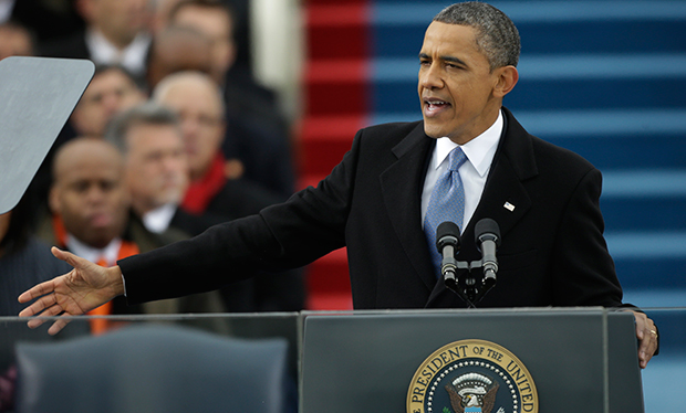 President Barack Obama once again calls for bipartisanship and involvement during his ceremonial swearing-in at the U.S. Capitol during the 57th Presidential Inauguration.