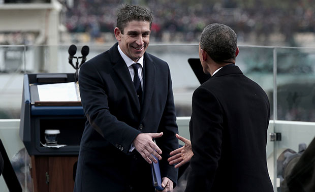 President Barack Obama greets poet Richard Blanco on the West Front of the Capitol in Washington, Monday, January 21, 2013, after Blanco's reading at the president's ceremonial swearing-in ceremony during the 57th Presidential Inauguration.