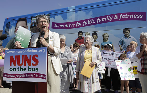 Sister Simone Campbell, executive director of Network, speaks during a stop on the first day of a nine-state Nuns on the Bus tour, Monday, June 18, 2012, in Ames, Iowa.