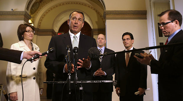 House Speaker John Boehner (R-OH), center, speaks during a news conference on Capitol Hill in Washington, Wednesday, January 23, 2013, to discuss the debt limit. From left are Rep. Cathy McMorris Rodgers (R-WA), House Speaker Boehner, House Ways and Means Committee Chairman Dave Camp (R-MI), and House Majority Leader Eric Cantor (R-VA).