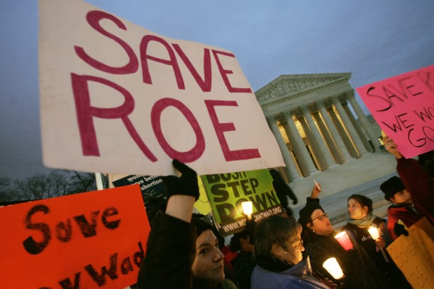 Supporters of the Roe v. Wade decision rallying outside the Supreme Court