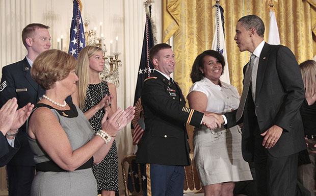 President Barack Obama greets members of the military and their family members in the East Room of the White House on Tuesday, April 12, 2011, after the launch of Joining Forces, the national initiative to support and honor America's service members and their families.