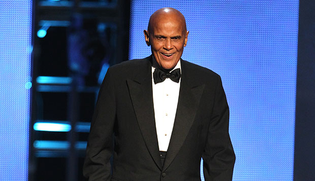 Harry Belafonte walks onstage to accept the Spingarn award at the 44th Annual NAACP Image Awards at the Shrine Auditorium in Los Angeles on Friday, February 1, 2013.