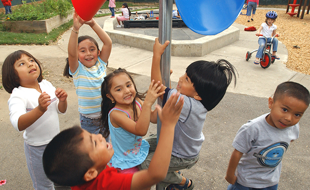 Preschoolers enjoy a variety of break activities at a Head Start program in Hillsboro, Oregon.