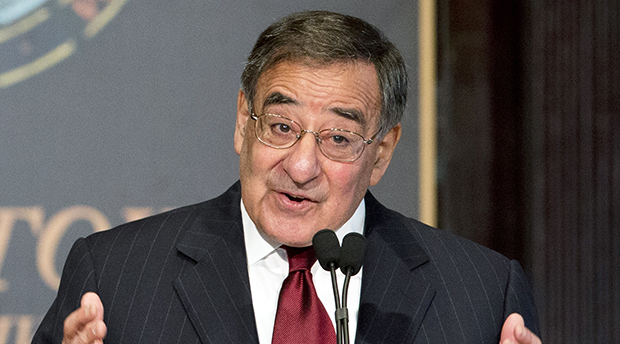 Secretary of Defense Leon Panetta delivers a speech to Georgetown University students and faculty on leadership and public service in Washington, Wednesday, February 6, 2013.