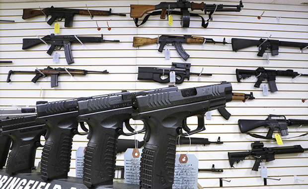 Assault weapons and handguns are seen for sale at Capitol City Arms Supply in Springfield, Illinois, Wednesday, January 16, 2013.