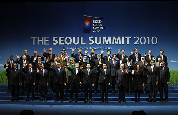 G-20 leaders pose for a group photo at the G-20 summit in Seoul, South Korea, Friday, November 12, 2010.