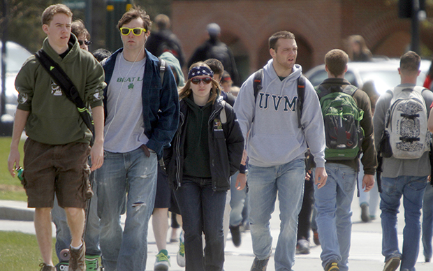 Students walk across campus at the University of Vermont on Monday, April 30, 2012, in Burlington, Vermont.