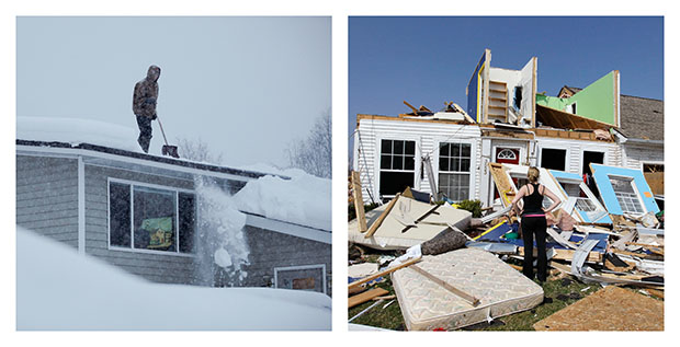 In this combination photo, Doug Hamrick, left, shovels snow off of his family's roof in Anchorage, Alaska, on Thursday, January 12, 2012, and Katie Cramer, right, looks over the front of her destroyed house in Dexter, Michigan, on Friday, March 16, 2012, after a tornado touched down on Thursday night.