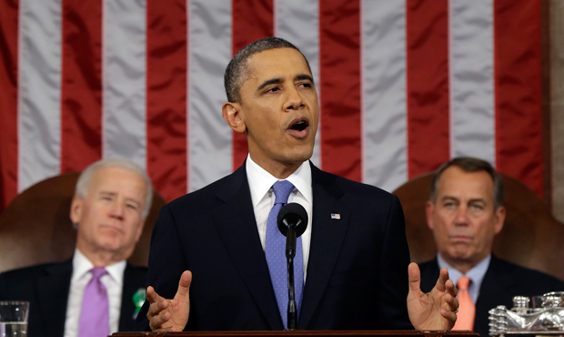 President Barack Obama delivers his State of the Union address during a joint session of Congress on Capitol Hill on February 12, 2013.