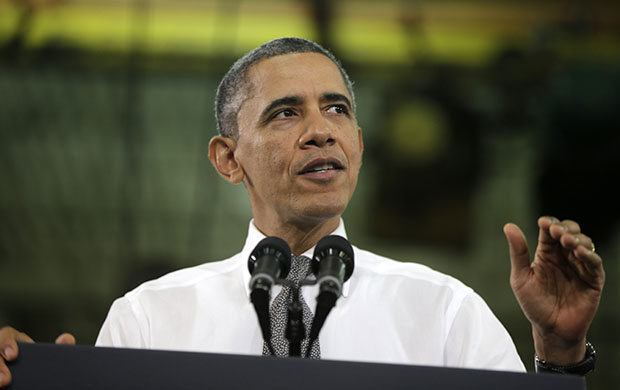 President Barack Obama speaks at the Linamar Corporation in Arden, North Carolina, Wednesday, February 13, 2013, the day after delivering his State of the Union address.