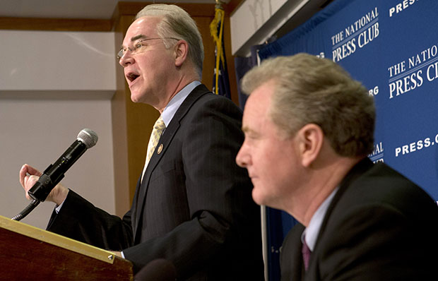House Budget Committee Vice Chairman Rep. Tom Price (R-GA), left, accompanied by the committee's ranking Democrat Rep. Chris Van Hollen (MD), speaks about sequestration, the fiscal cliff, and the budget, Tuesday, February 12, 2013, during a news conference at the National Press Club in Washington.