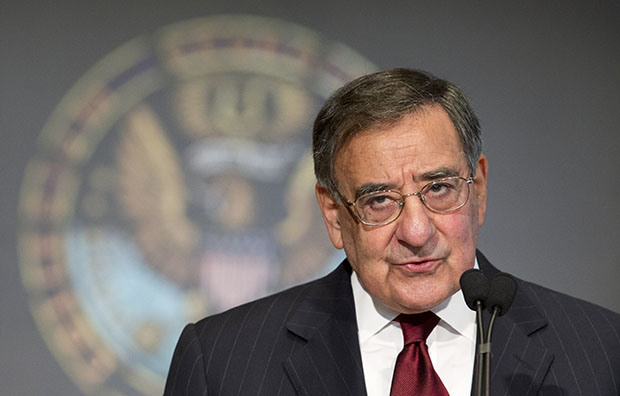 Secretary of Defense Leon Panetta delivers his speech to Georgetown University students and faculty on leadership and public service in Washington, Wednesday, February 6, 2013.