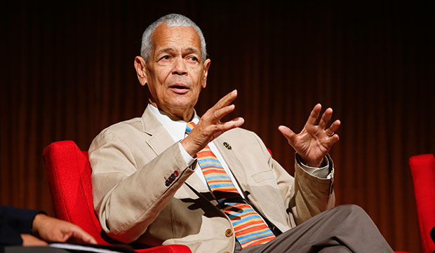 "Former NAACP Chairman Julian Bond takes part in the ""Heroes of the Civil Rights Movement"" panel during the Civil Rights Summit, April 9, 2014, in Austin, Texas."