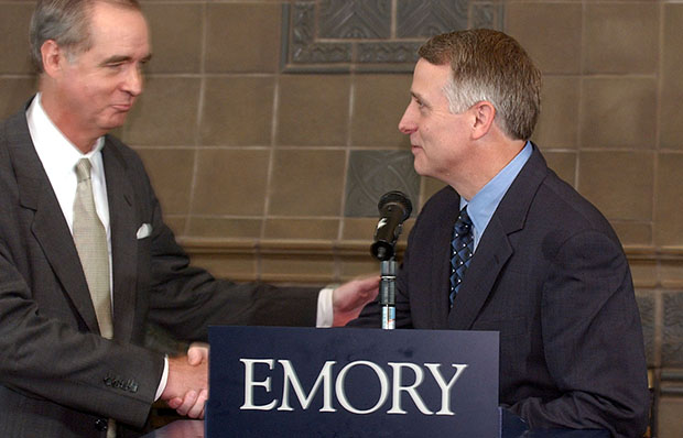 Emory University Chairman of the Board of Trustees Ben Johnson III, left, introduces the University's next president, James W. Wagner, Wednesday, July 30, 2003, at the Emory Conference Center Hotel in Atlanta, Georgia.