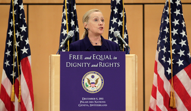 "Former U.S. Secretary of State Hillary Rodham Clinton defends the rights of gay and transgender people from around the world in a speech entitled ""Free and Equal in Dignity and Rights"" at the United Nations in Geneva, Switzerland, on December 6, 2011, International Human Rights Day."