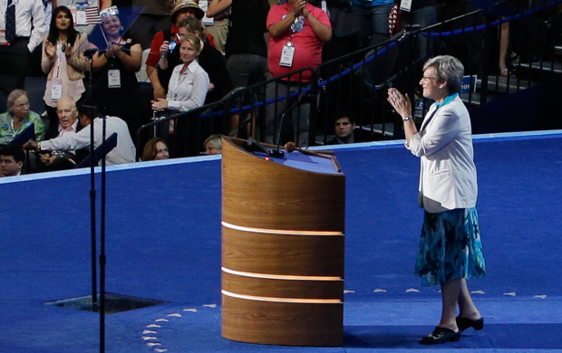 Sister Simone Campbell, executive director of NETWORK and a Roman Catholic nun, addresses the Democratic National Convention in Charlotte, North Carolina on September 5, 2012.