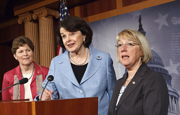 From left, Sen. Jeanne Shaheen (D-NH), Sen. Dianne Feinstein (D-CA), and Sen. Patty Murray (D-WA) talk to reporters about the reauthorization of the Violence Against Women Act that was passed originally in 1994, Wednesday, April 18, 2012, on Capitol Hill in Washington.
