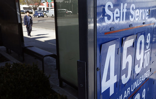 A gas station displays a price of $4.59 for a gallon of self-service regular gas, Friday, February 22, 2013, in San Diego. Gas prices have spiked between 57 and 59 cents over the past six weeks in California.