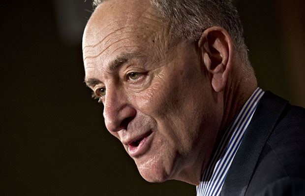 Sen. Charles Schumer (D-NY) speaks at a press conference on Capitol Hill in Washington, January 14, 2013.