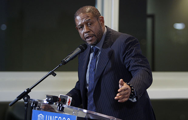 Actor Forest Whitaker speaks in Paris, February 7, 2012.