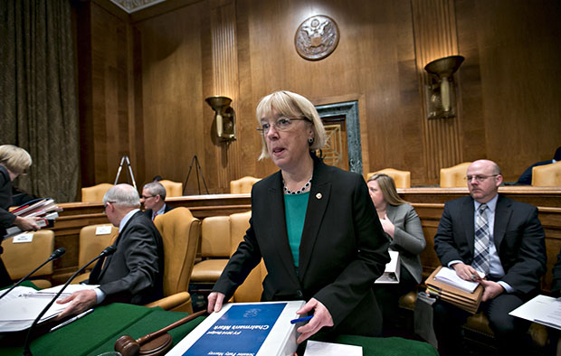 Sen. Patty Murray (D-WA), chair of the Senate Budget Committee, prepares for a day of work on the Democrats' spending strategy during a markup session of the budget on Capitol Hill in Washington, Thursday, March 14, 2013.