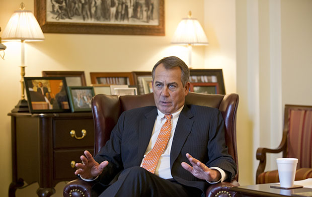 Speaker of the House John Boehner (R-OH) speaks during an interview with The Associated Press at his Capitol office in Washington, Wednesday, February 13, 2013.