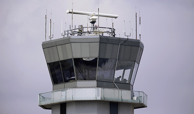 This March 12, 2013, photo shows the air traffic control tower at Chicago's Midway International Airport.