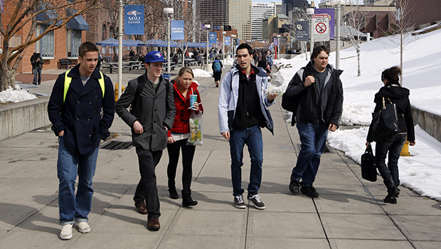 Students walk the campus at Metropolitan State University in Denver, Thursday, February 28, 2013.