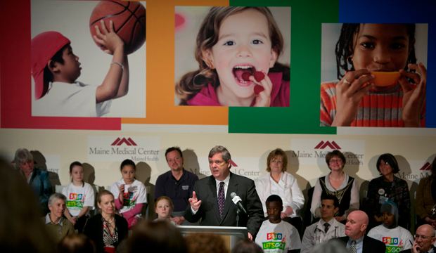 Secretary of Agriculture Tom Vilsack speaks at Maine Medical Center, Thursday, March, 14, 2013 in Portland, Maine.